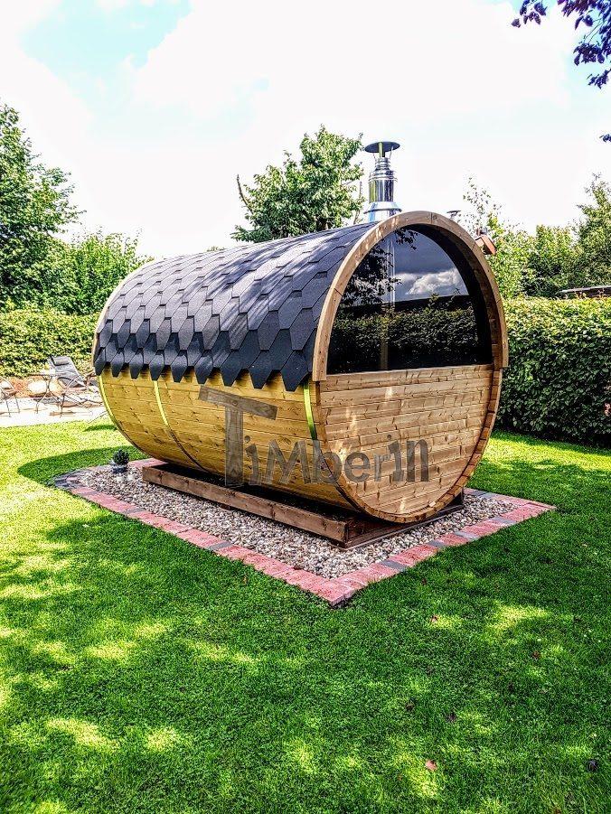Sauna A Botte Con Mezza Finestra Panoramica