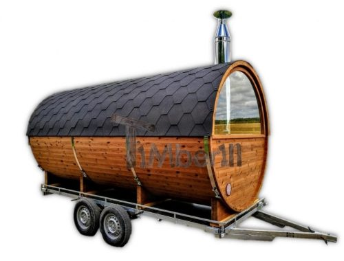 Sauna a botte da esterno sulle ruote - rimorchio